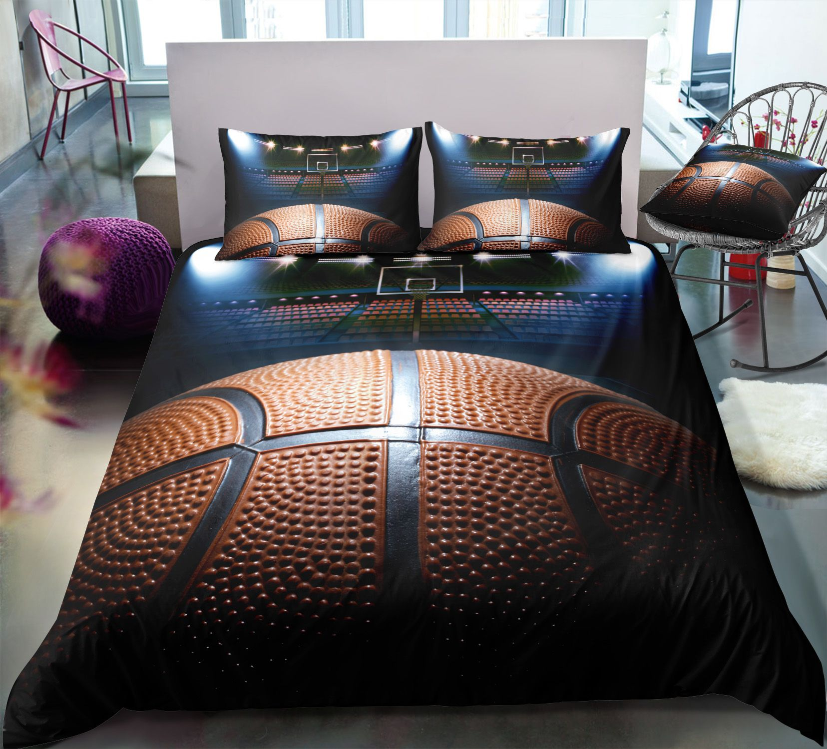 Baketball Printed Blanket for Boy Thin Flannel Simple Cool