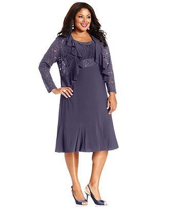 Rm Richards Plus Size Sleeveless Embroidered Dress And Jacket