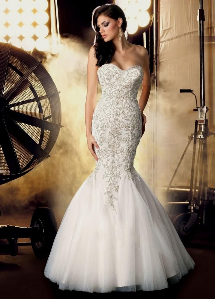 wedding dresses sweetheart neckline mermaid style with bling ...