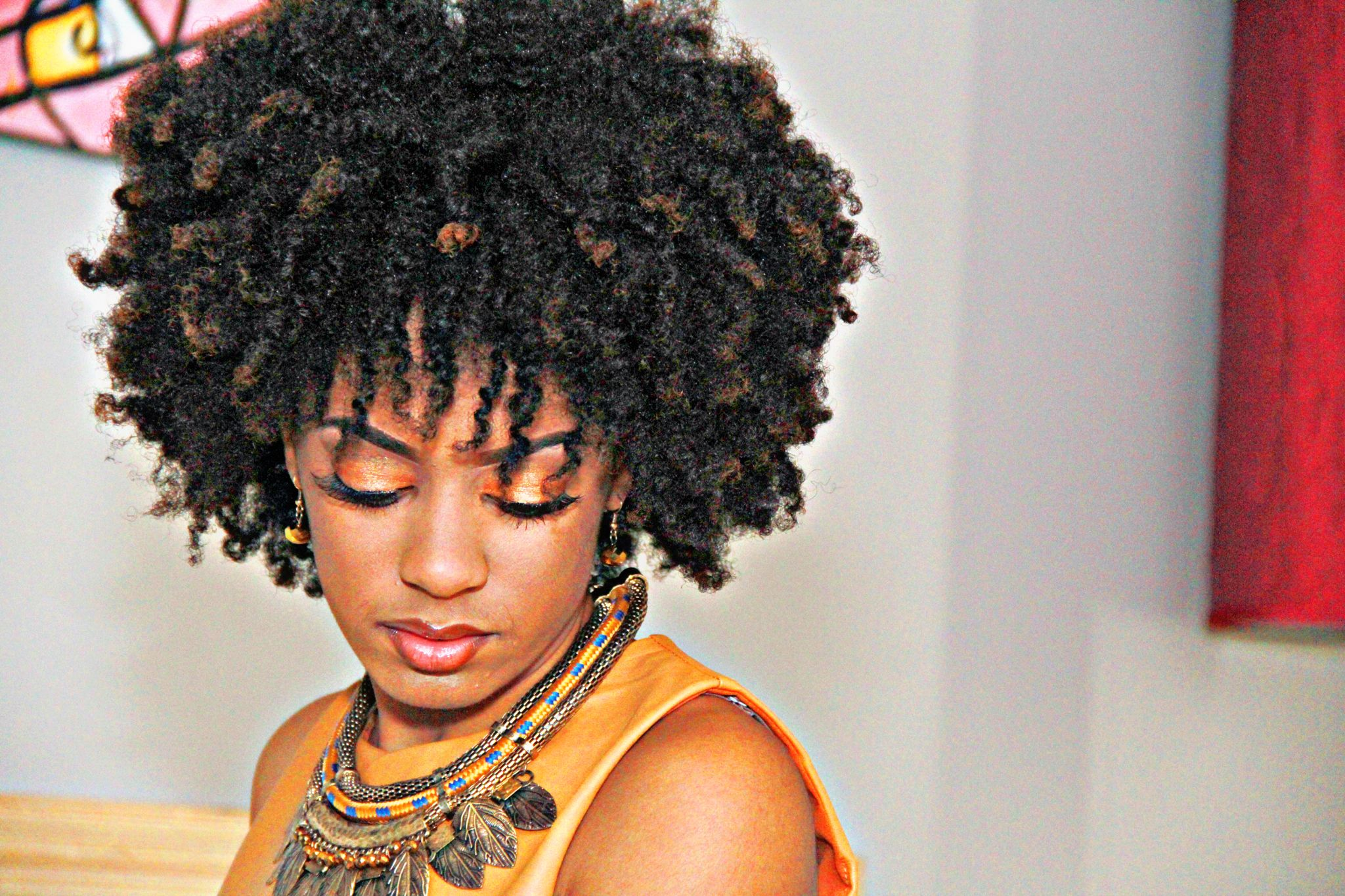 Natural hair Afro makeup for black girls twist out 4c hair