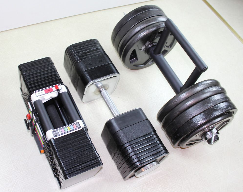 the ironmaster 75lb quick lock adjustable dumbbell system allows