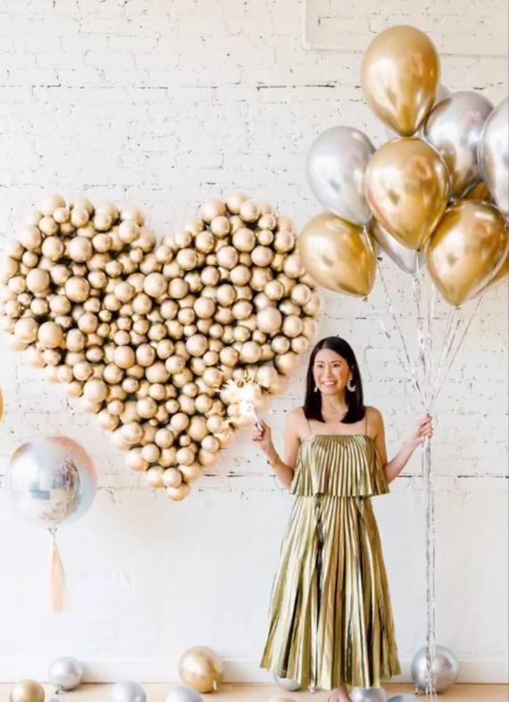 Silber Chrom Luftballons - Silber Ballon Set 12 Zoll Luftballons, Babyparty Dekor, Silber Party Dekor, Hochzeitsballons, Ballon Bouquet