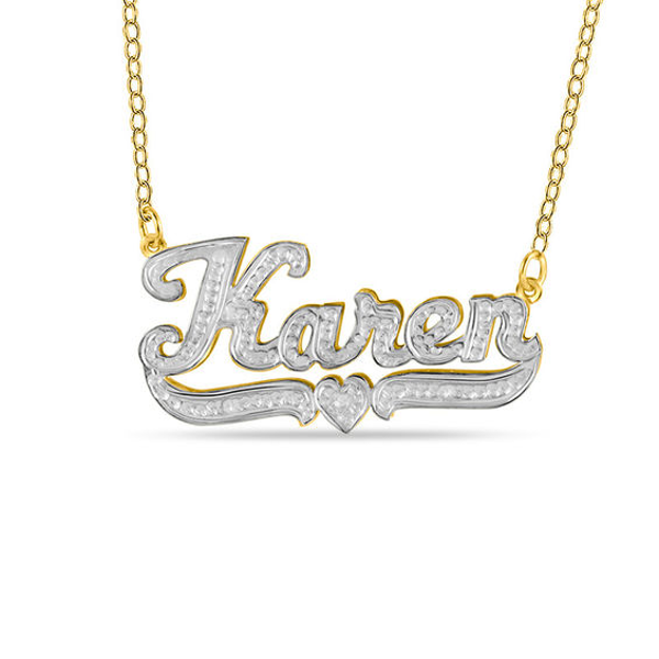 Diamond Accent Hammered Name Pendant In 10k Two Tone Gold 10 Characters In 2020 Gold Name Necklace Pendants Gold