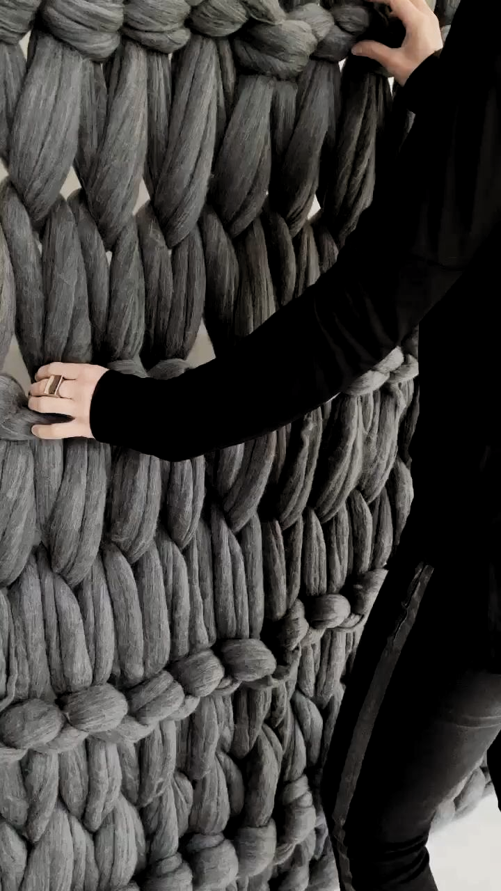 A huge Armknitted Wall Installation for one of Melbourne's finest Interior Architect Studios #armknitting #knitted #commission #homedecor #interiordesignideas #interiors #interiorarchitecture #wool