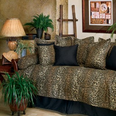 Leopard daybed comforter set features a classic brown