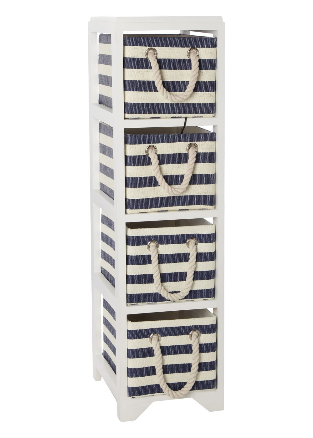 Matalan - Set Of 4 Blue Stripe Woven Storage Drawers | Bathroom ...