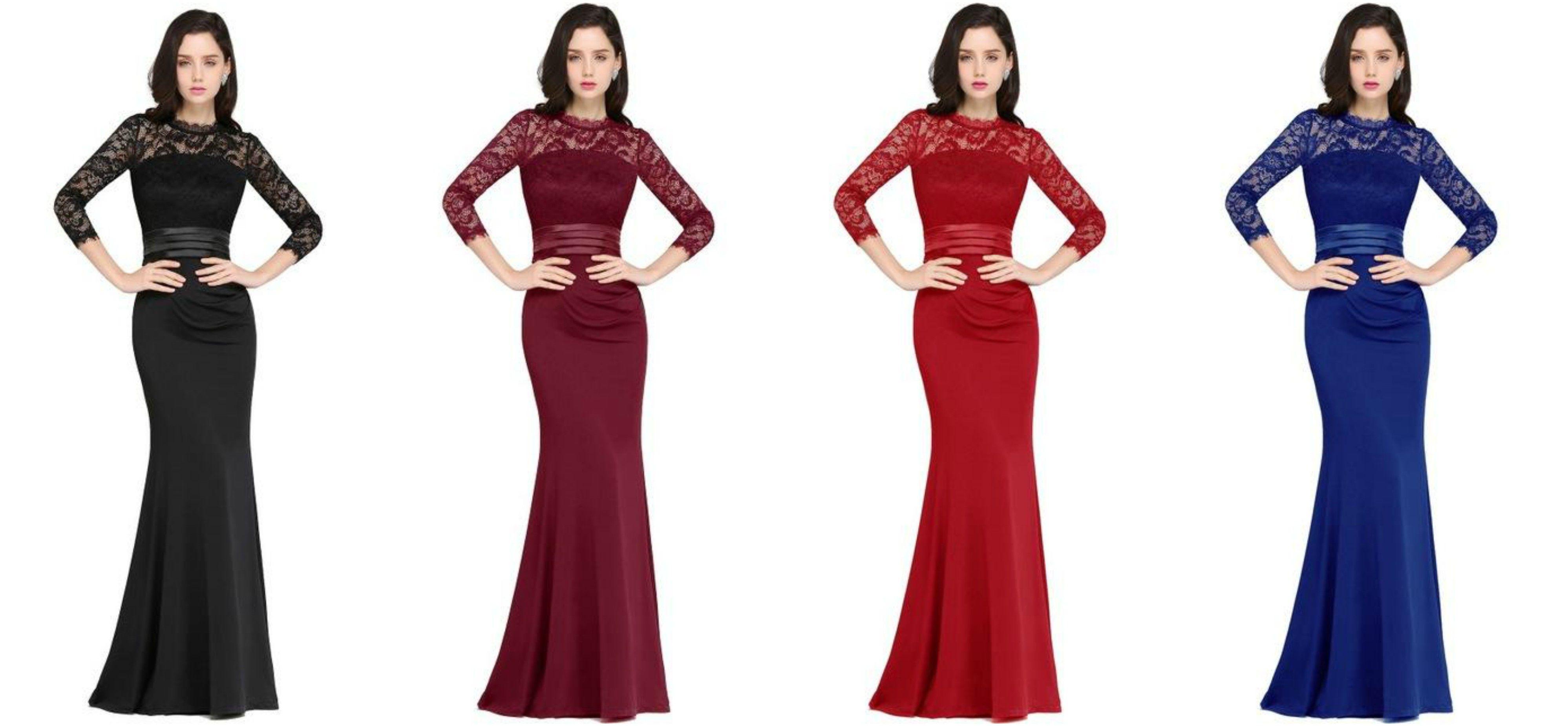 Burgundy mermaid long formal evening dresses long sleeve lace prom