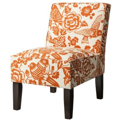 Good Armless Upholstered Accent Slipper Chair   Orange Floral Quick Information