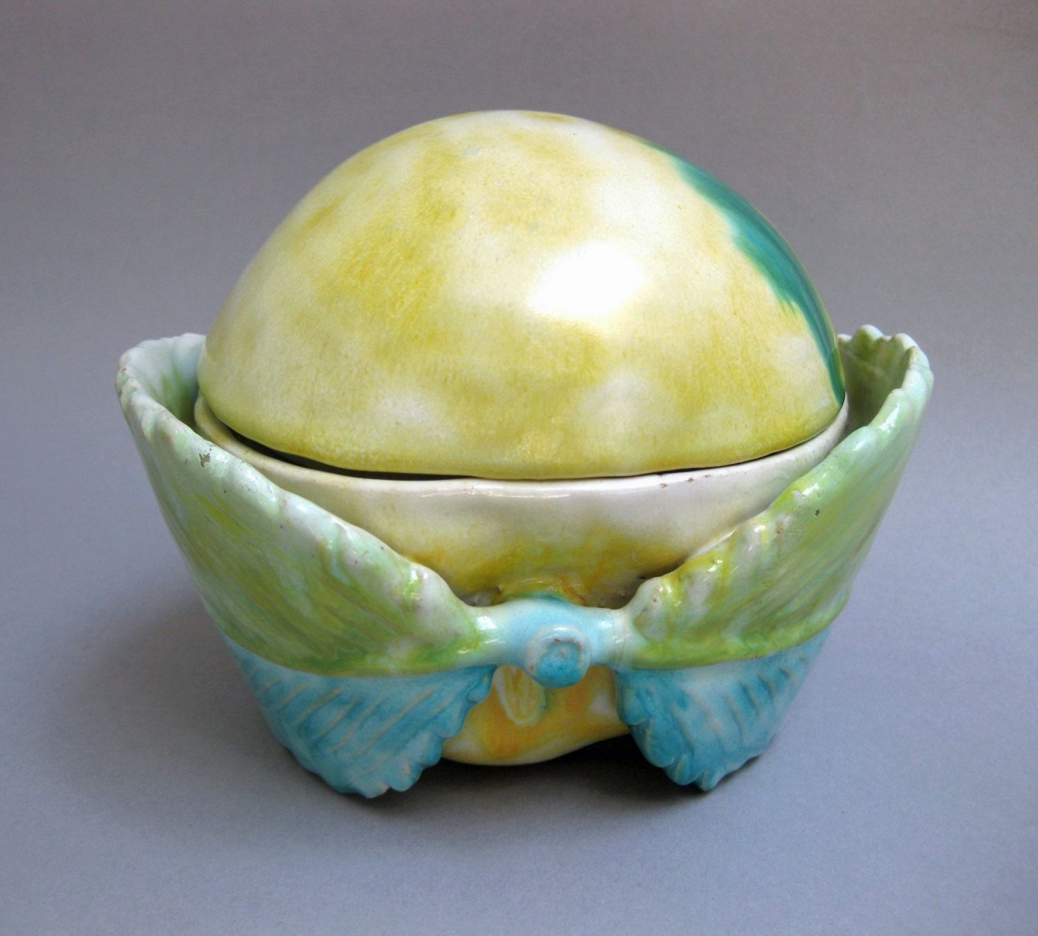 German Faience Apple As Inkstand In Faience
