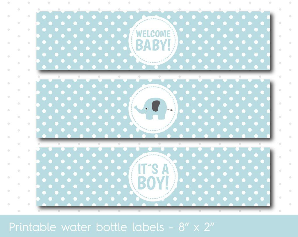 Baby Blue Elephant Baby Shower Water Bottle Labels With Polka Dots Wa 43