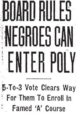 Headline from the September 3, 1952 issue of the Baltimore