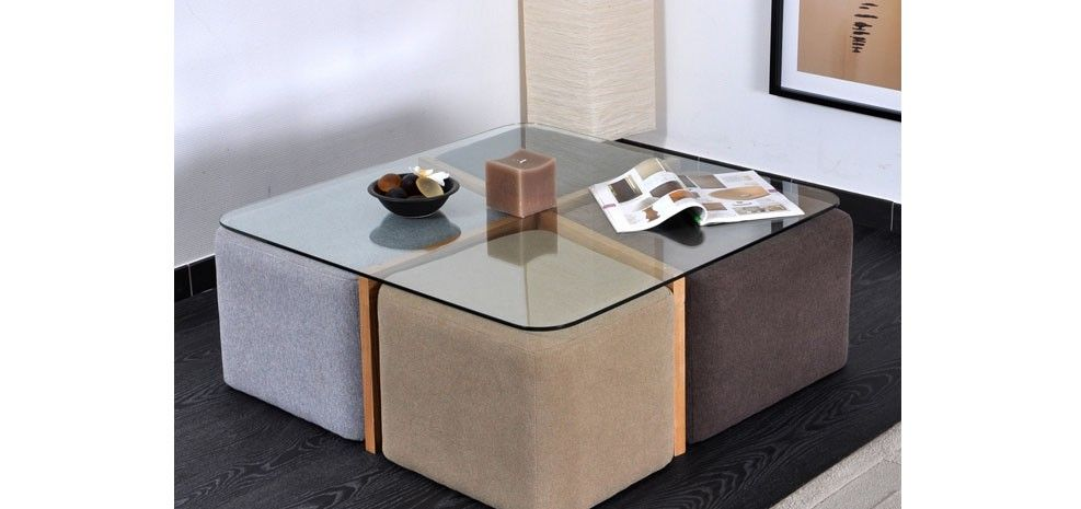 Table basse 4 poufs petit prix table basse pinterest - Table basse avec poufs integres ...