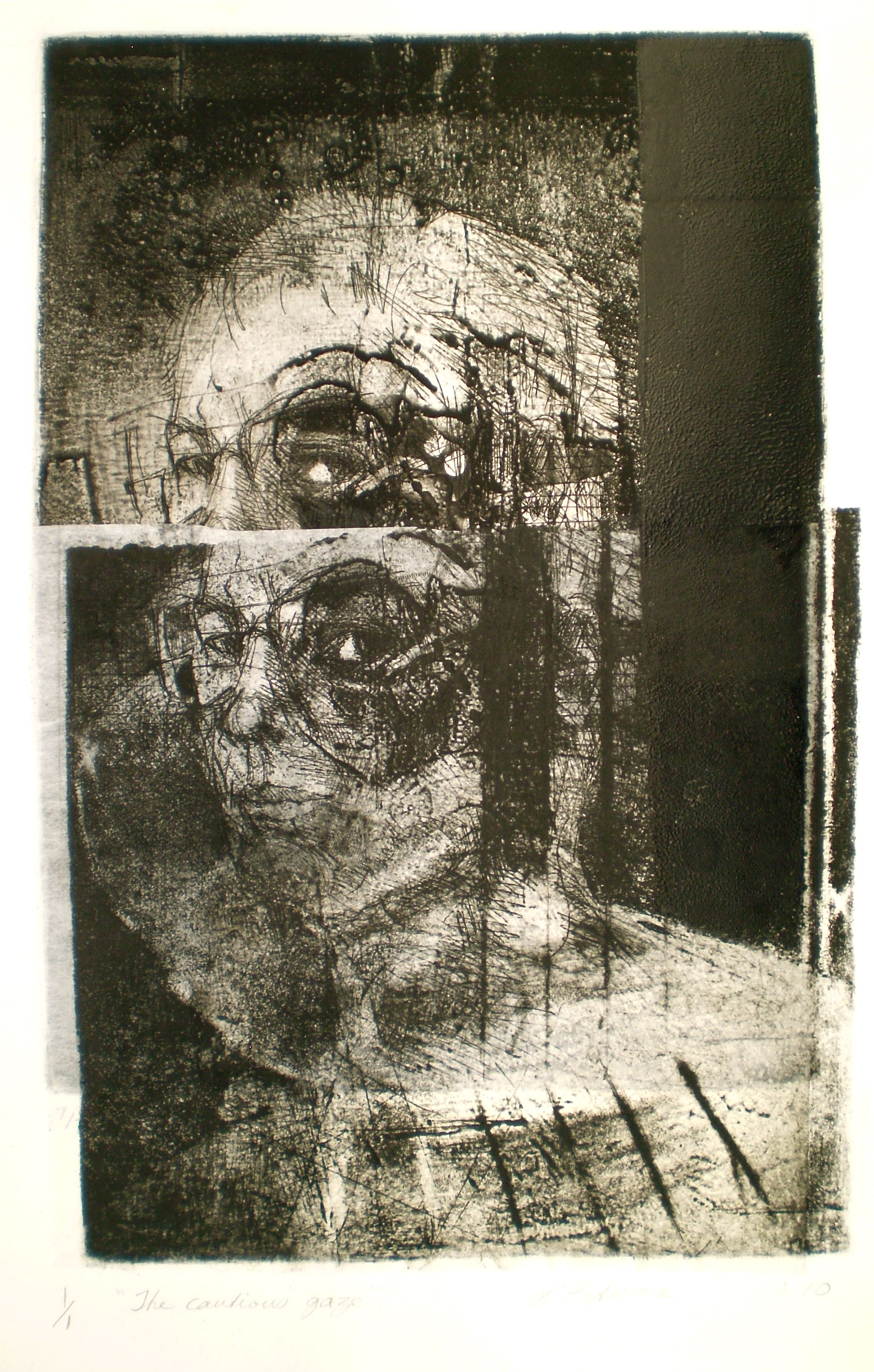 ELAINE d'ESTERRE - The Cautious Gaze, 1/1, 2010, intaglio, drypoint and chine-colle 29x19 cm print, 37x28 cm paper by Elaine d'Esterre at http://elainedesterreart.com and http://www.facebook.com/elainedesterreart/ and http://instagram.com/desterreart/
