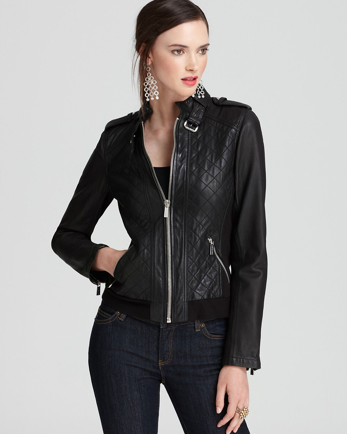 MICHAEL Michael Kors Quilted Leather Jacket Bloomingdale
