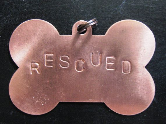 Handstamped copper dog tag  50 percent Donation to Great Pyrenees Rescue of Montana by WarbleswithBella