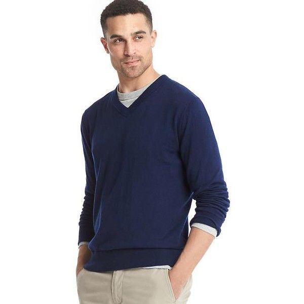Gap Men Cotton V Neck Sweater ($50) ❤ liked on Polyvore featuring ...