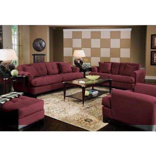 Modern Living Room Cindy Crawford Home Avenue Burgundy 8