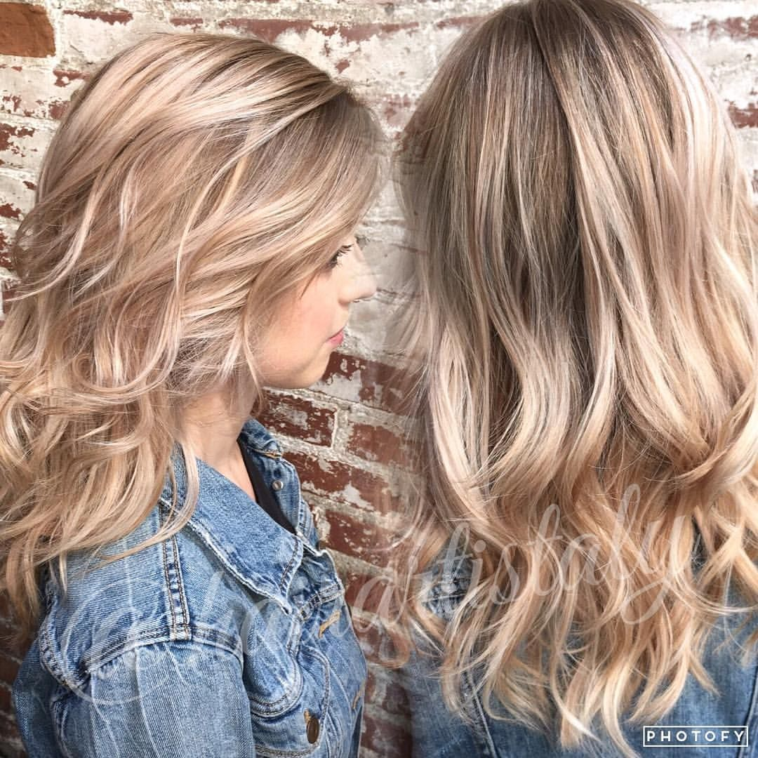 Beige Blond Balayage Long Layered Haircut Hair By Aly Tompkins Mon
