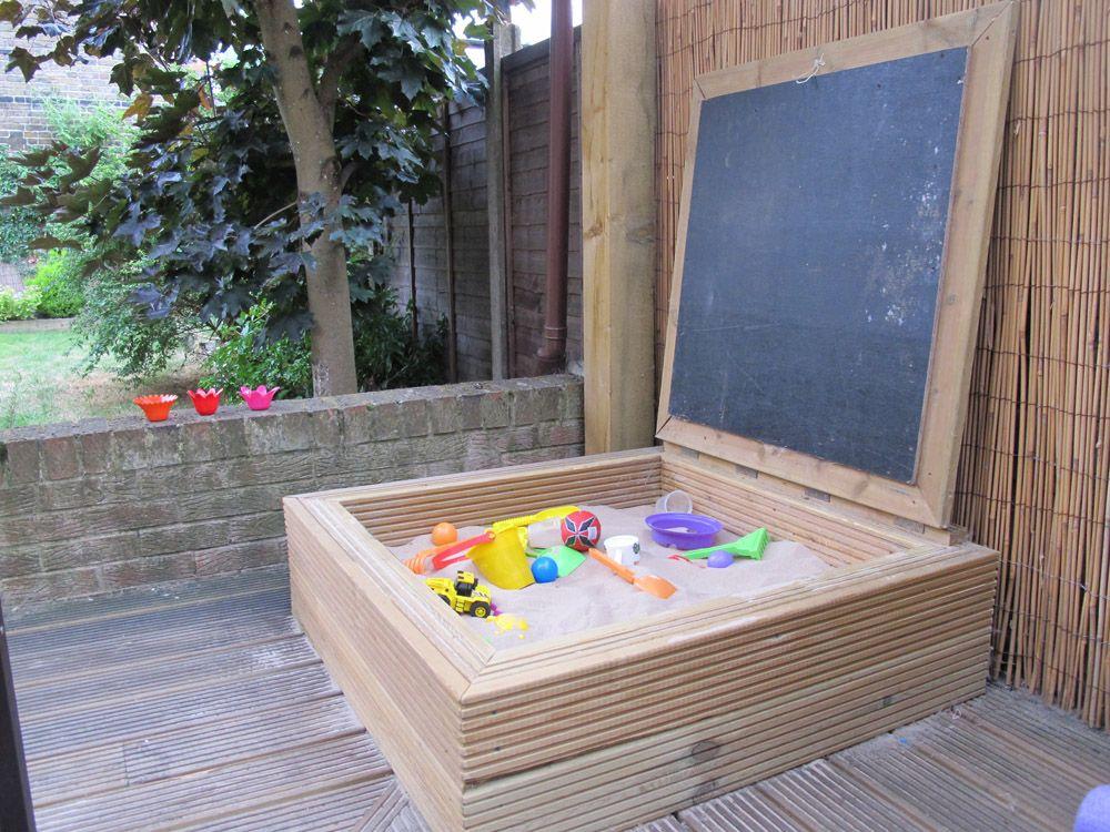 sandkasten mit tafel sandkasten pinterest garten sandkasten und spielplatz. Black Bedroom Furniture Sets. Home Design Ideas