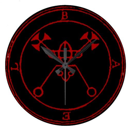 Black Seal of Bael Round (Large) Wall Clock by Wraithe Designs.