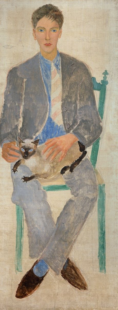 Christopher Wood (1901–1930), Boy with Cat (Jean Bourgoint), 1926, Oil and graphite on canvas, 1480 x 585 mm | Kettle's Yard, University of Cambridge