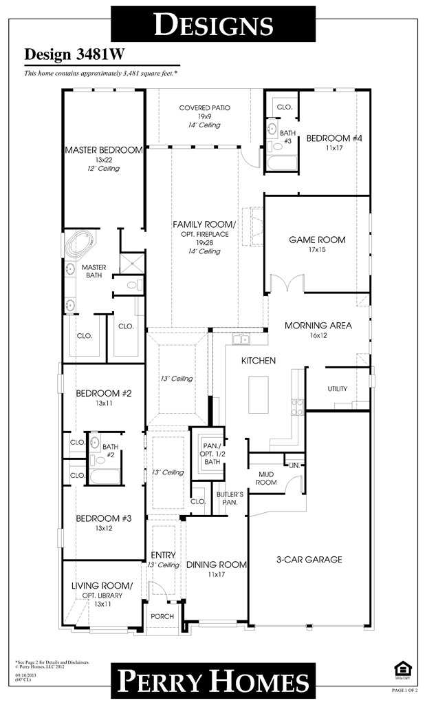 1 story house plans 3 bedroom 3481w story perry home floor plan dream house pinterest