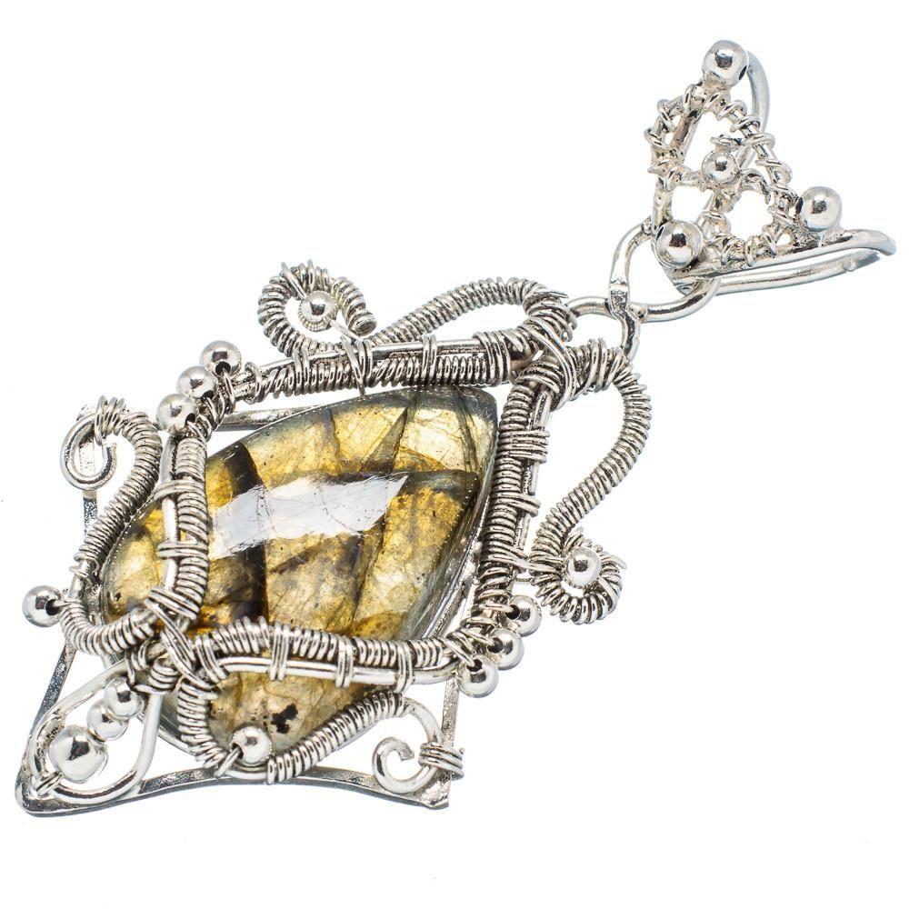 "Ana Silver Co Labradorite 925 Sterling Silver Pendant 2 1/2"" PD598597"