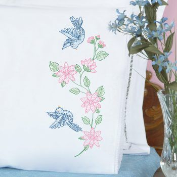 Jack Dempsey Stamped Pillowcases W//White Perle Edge 2//Pkg-Cardinal