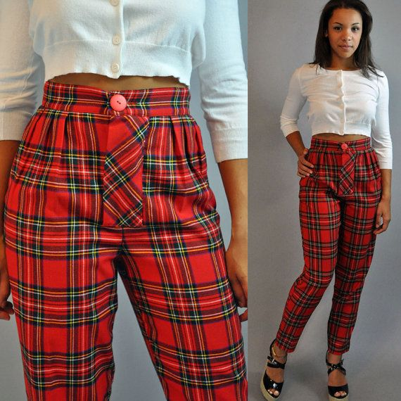 1c18417d8b High-Waisted Trousers for Women | 80s vintage HIGH WAISTED pants / Womens Red  plaid Trousers Pleated .
