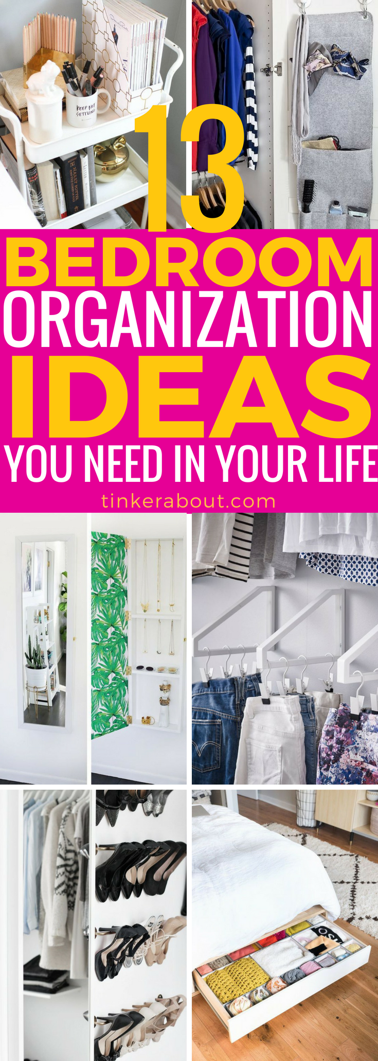13 Bedroom Organization Ideas Every Girl Needs To Kow is part of bedroom Organization Closet - Bedrooms can be a messy place sometimes  not anymore with these clever bedroom organization ideas! Click through and get organized