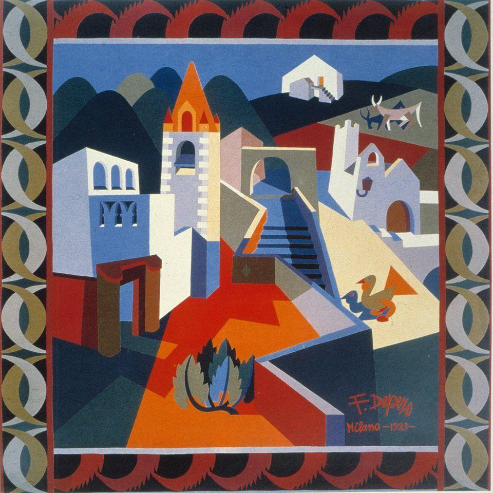 Fortunato Depero ((Italian, 1892-1960), La chiesa di Lizzana [The Church of Lizzana], 1923. Wool appliqué, 170 x 170 cm.