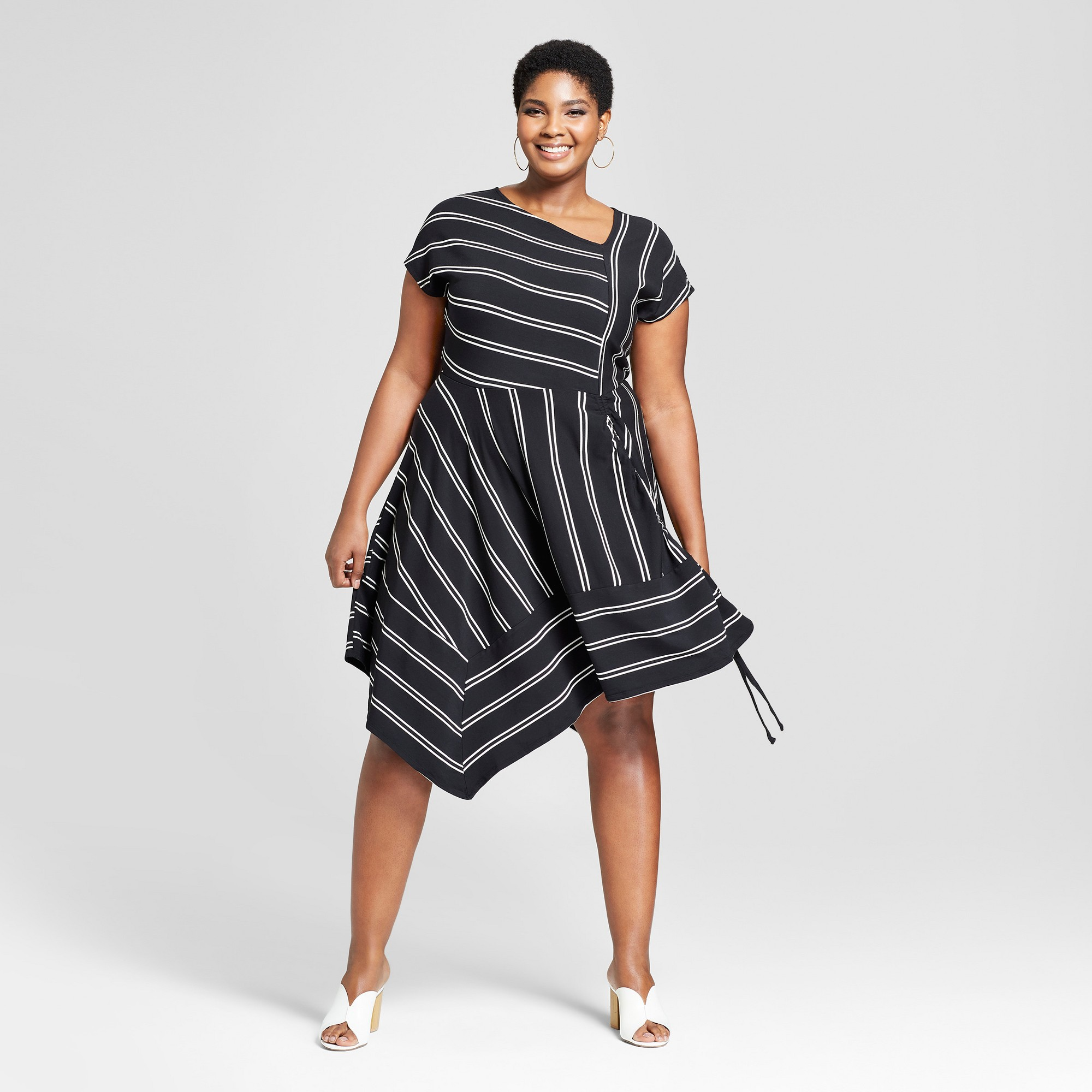 9ce077e1b87 Women s Plus Size Striped Asymmetrical Knit Dress - Ava   Viv Black White 3X