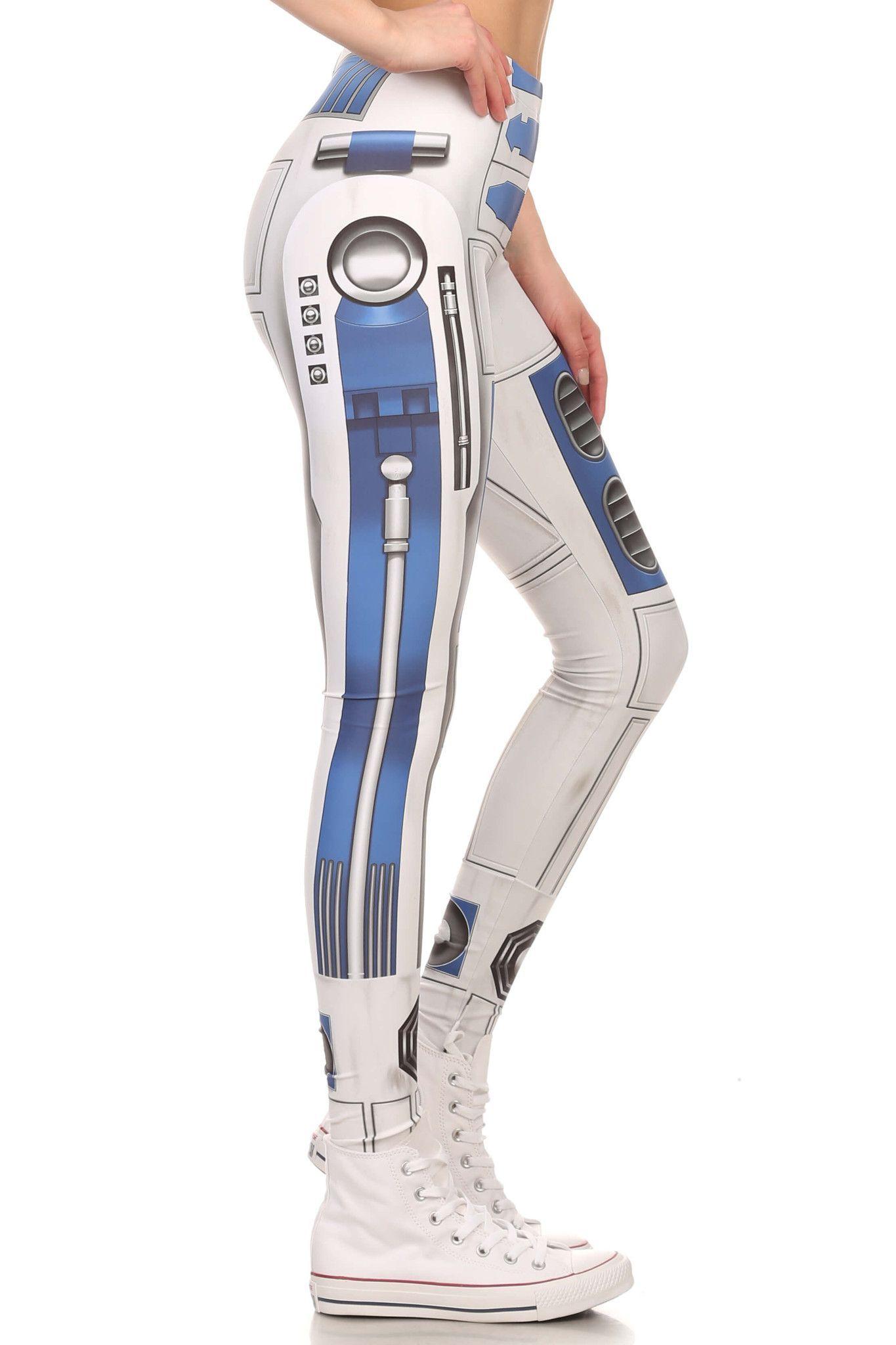 Blue robot leggings leggings blue gym wear