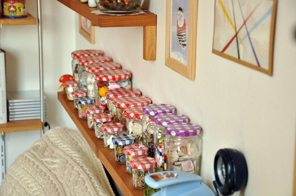 Bonne Maman jars as storage containers. (via Memi the Rainbow)