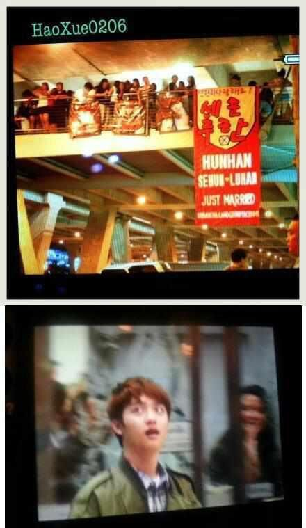 oh my goodness!! D.O.'s reaction to this Sehun & Luhan 'just married' banner!
