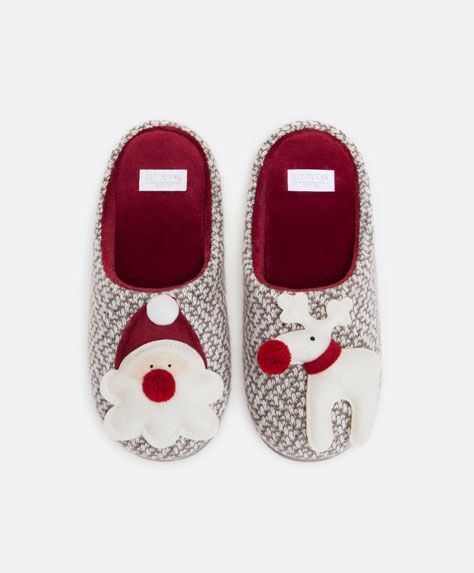 Photo of Christmas duo slippers – Slippers – FOOTWEAR | Oysho United Kingdom