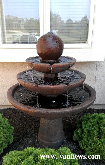 Massarellis 3 Tier Tranquility Fountain Www Vanliews Com Front Yard Garden Front Landscaping Home Fountain