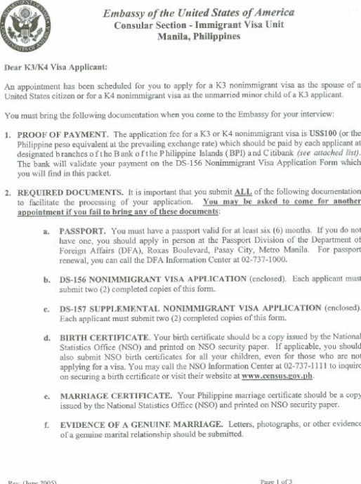 List Requirements Needed For The Visa Interview Pages Procedure