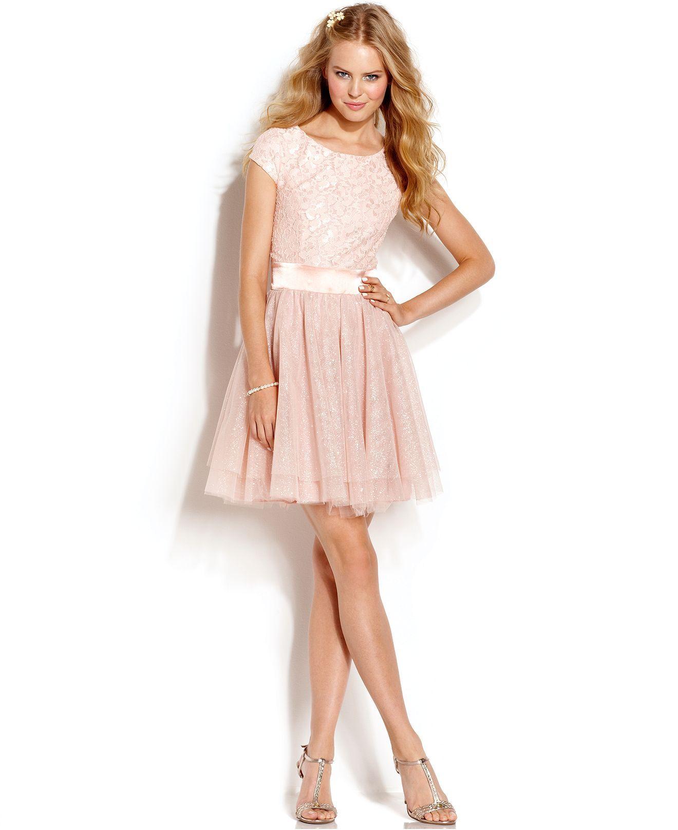 Trixxi juniorsu lace glittered tulle dress juniors dresses