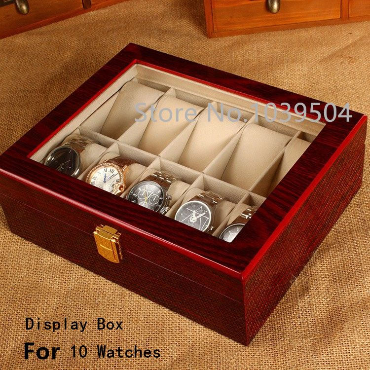 7b49cff44 Free Shipping 10 Grids Watches Box Top Red Piano Paint MDF Storage  BoxTransparent Skylight Brand Watch