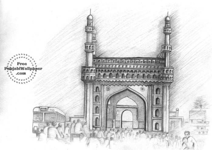 Charminar With Images Pencil Drawings Perspective Sketch