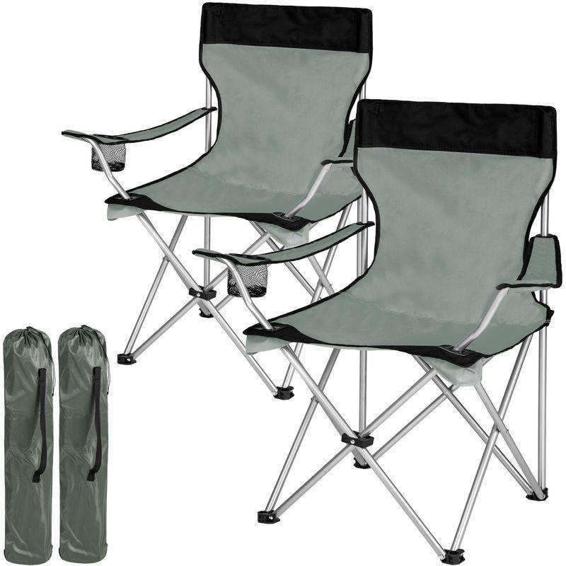 Lot De 2 Chaises De Camping Pliables Avec Porte Gobelet Et Housse Sac De Transport Gris Noir Tectake En 2020 Chaise De Camping Chaises De Camping Fauteuil Pliable