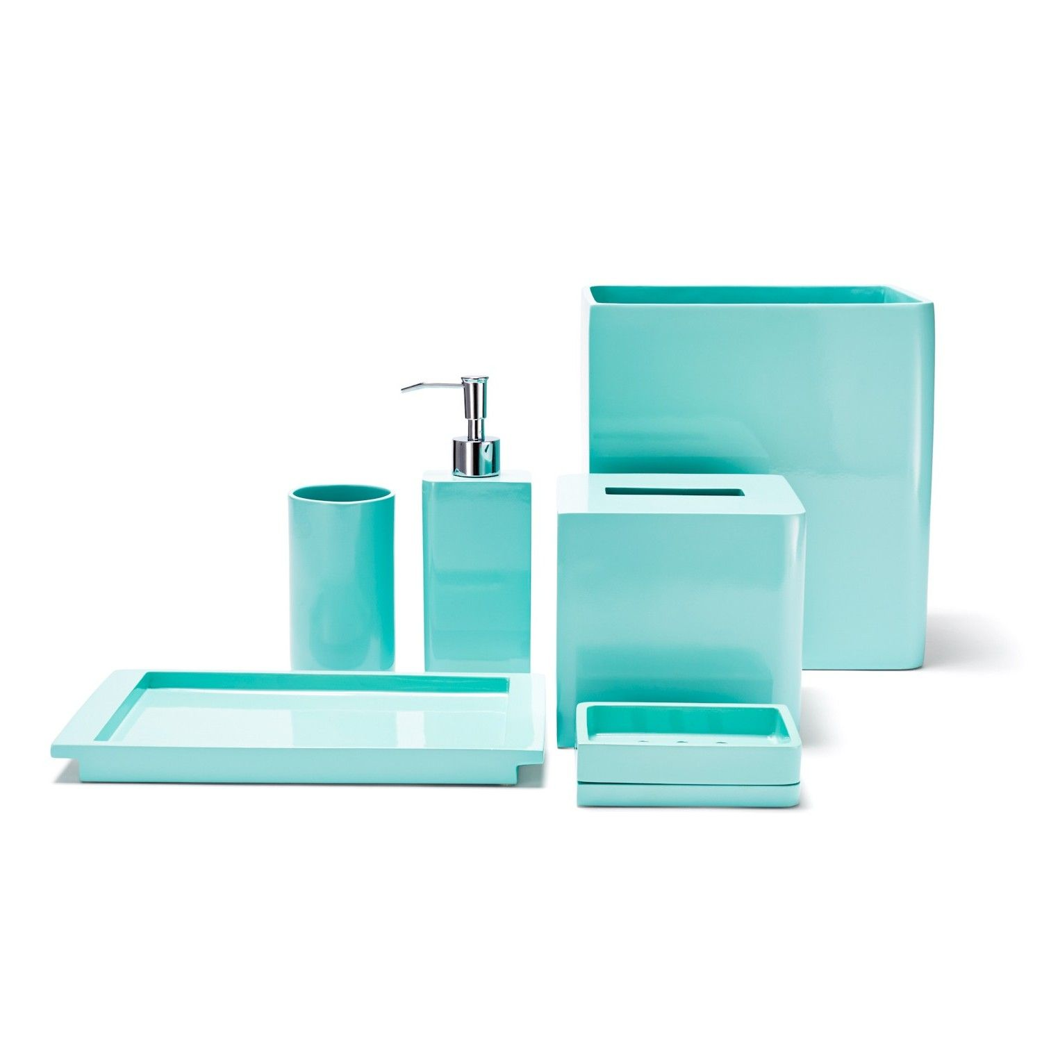 Beautiful Teal Colored Bathroom Accessories