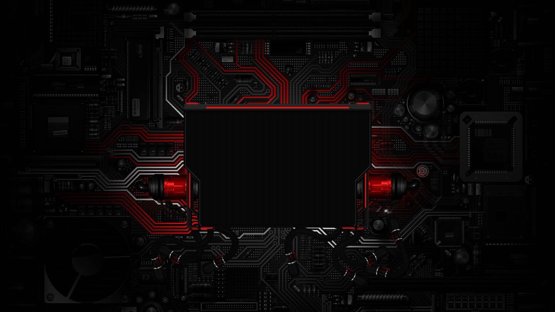 Wallpaper Red And Black Circuit Board Circuits Electronics Digital Art Technology Wallpaper Hi Tech Wallpaper Hd Wallpaper Desktop