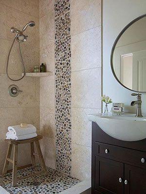 bathroom sink ideas | pebble tile shower, shower floor