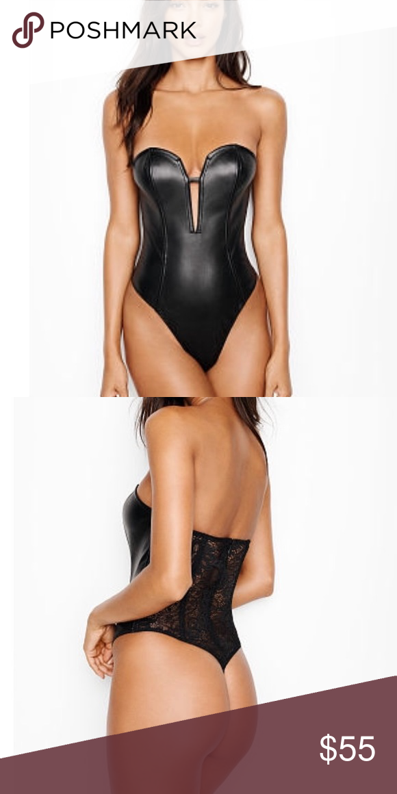 VERY SEXY Faux-Leather   Lace Teddy So not shy  this faux-leather bodysuit  with a front plunge and sheer lace back. Strapless Plunge front Back zip  with ... 5112b1915
