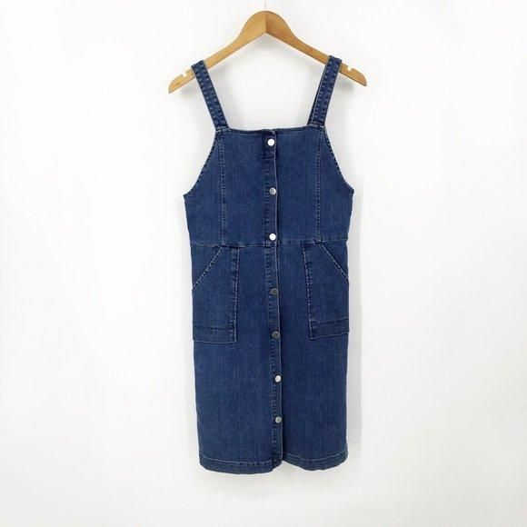 """Vanessa Bruno Athe Elvire Denim Pinafore Dress. Total '70s vibes! Denim Overall Dress Size: 36 / US Size 6. Approx 17"""" across the chest, 40"""