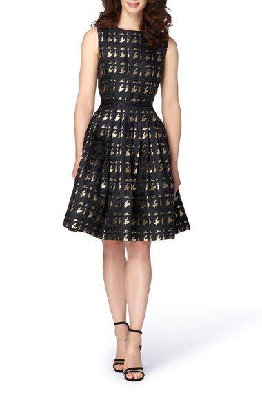 39b4d342de38 $168 Tahari Metallic Jacquard Fit & Flare Dress available at #Nordstrom