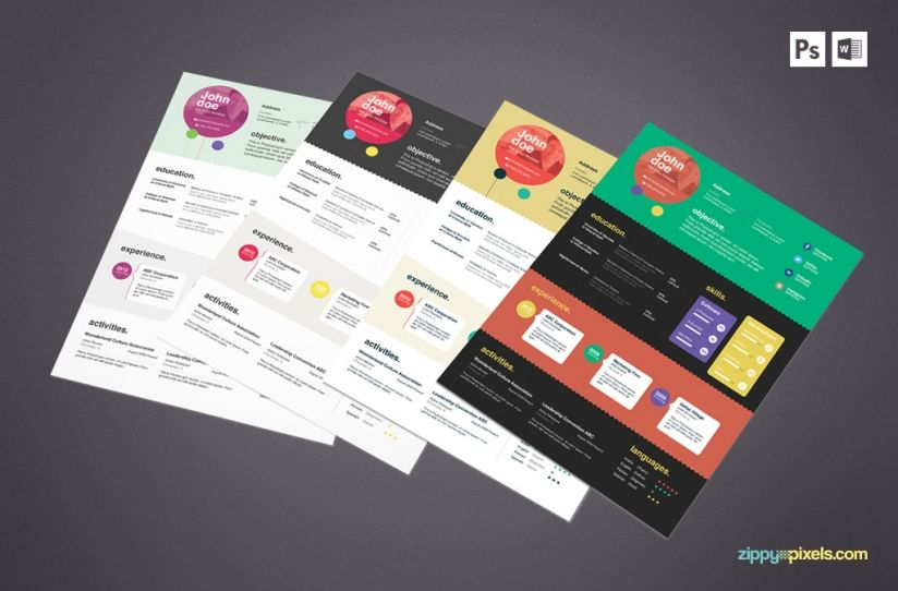 Elegant Resume Templates with Cover Letters \u2013 MS Word  PSD
