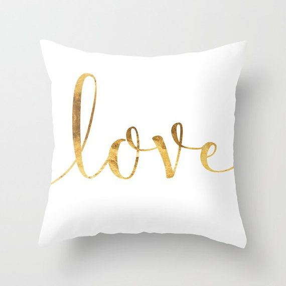 Gold Love Cushion Cover. Throw Pillow. White and Gold Pillow Case Note, Gold and Pillows